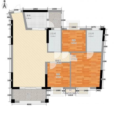 汇侨新城3室1厅2卫1厨80.47㎡户型图