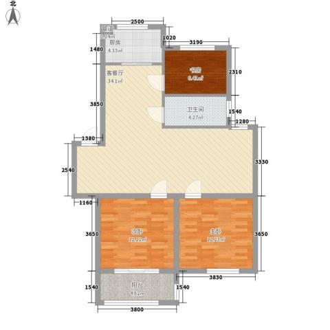 新世家3室1厅1卫1厨78.12㎡户型图