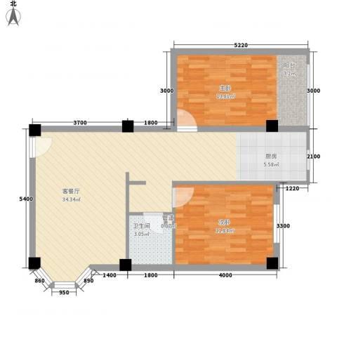 大唐长风一期2室1厅1卫0厨88.00㎡户型图