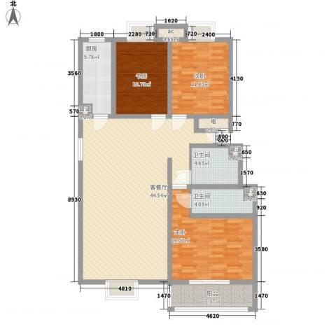 三泰茗居3室1厅2卫1厨136.00㎡户型图
