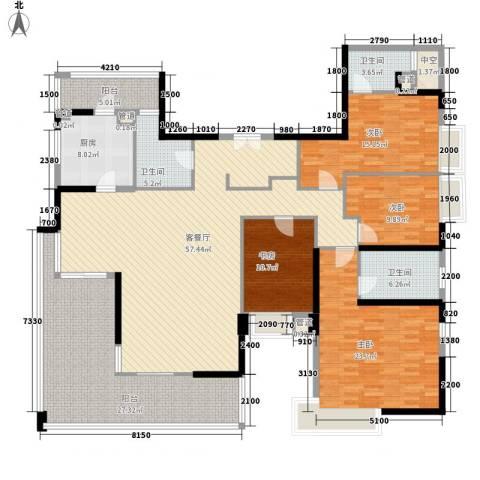 华发世纪城三期4室1厅3卫1厨174.45㎡户型图