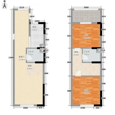 三泰茗居2室1厅2卫1厨121.00㎡户型图