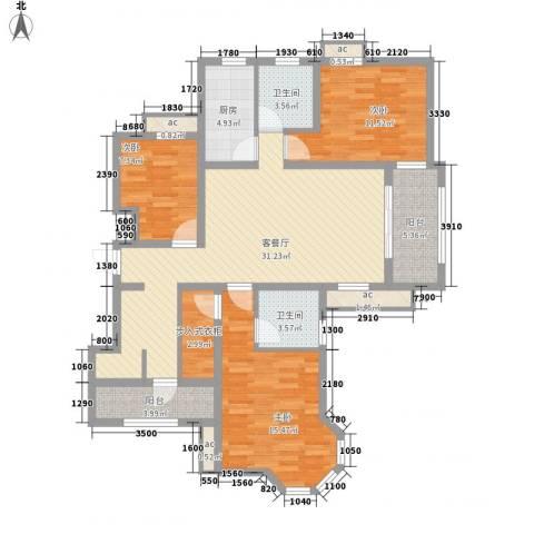 瑞丽名邸3室1厅2卫1厨138.00㎡户型图