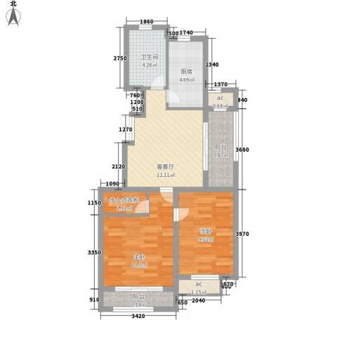 瑞丽名邸2室1厅1卫1厨77.00㎡户型图