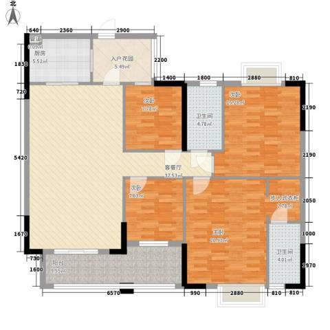 汇侨新城4室1厅2卫1厨118.59㎡户型图
