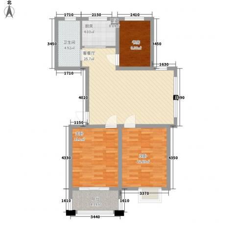 新世家3室1厅1卫1厨72.04㎡户型图