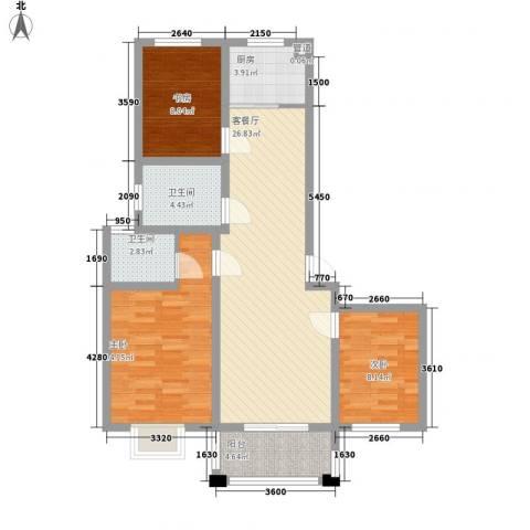 新世家3室1厅2卫1厨73.02㎡户型图