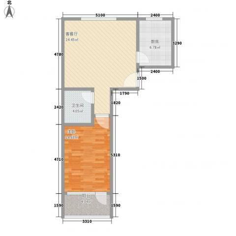 金丰山庄1室1厅1卫1厨76.00㎡户型图