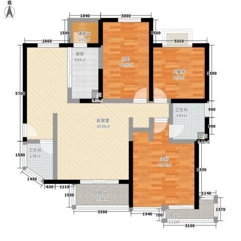 绿洲明月湾3室0厅2卫1厨134.00㎡户型图