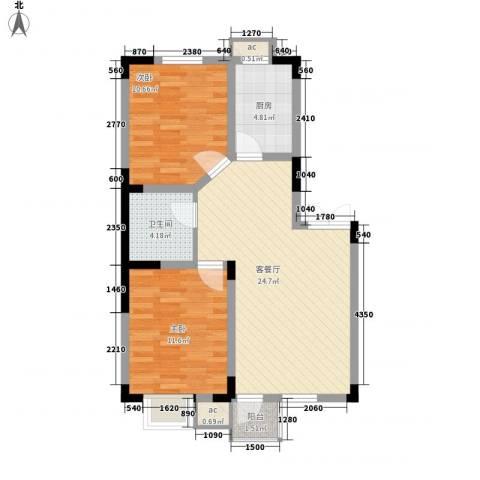 绿地新里中央公馆2室1厅1卫1厨80.00㎡户型图