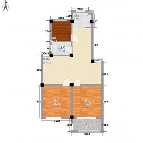 新世家3室1厅1卫1厨73.40㎡户型图