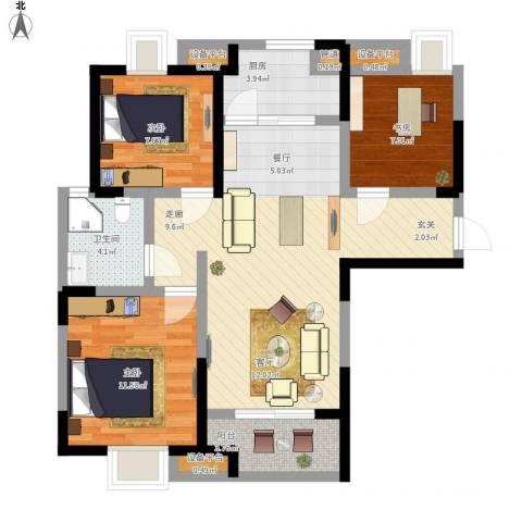 祥源城3室1厅1卫1厨102.00㎡户型图
