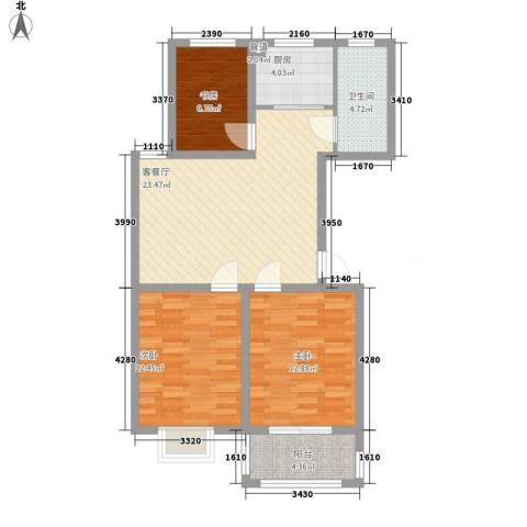 新世家3室1厅1卫1厨99.00㎡户型图