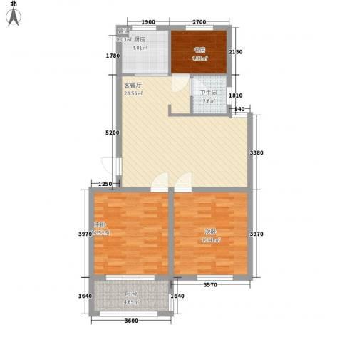 新世家3室1厅1卫1厨64.74㎡户型图