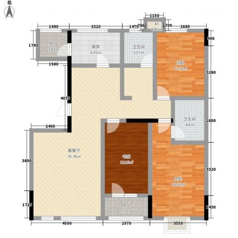 绿地新里中央公馆3室1厅2卫1厨121.00㎡户型图