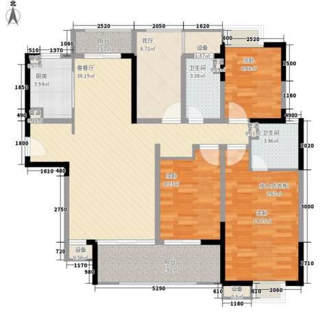 华润置地中央公园别墅3室1厅2卫1厨104.00㎡户型图