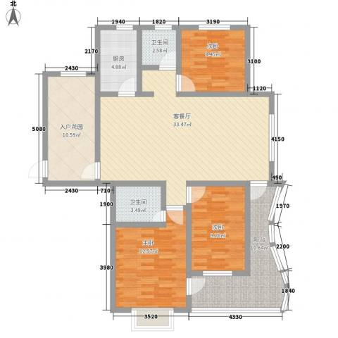 海韵馨园3室1厅2卫1厨141.00㎡户型图