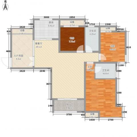 华润置地中央公园别墅3室1厅2卫1厨108.87㎡户型图