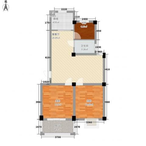 新世家3室1厅1卫1厨66.37㎡户型图