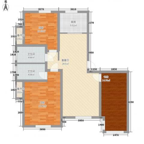 宏都筑景3室1厅2卫1厨113.00㎡户型图