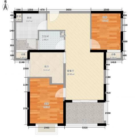华润置地中央公园别墅2室1厅1卫1厨68.00㎡户型图