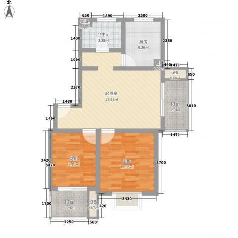 万宇荣盛阳光苑2室0厅1卫1厨83.00㎡户型图