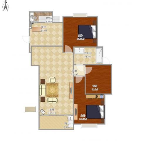 绿洲康城亲水湾3室2厅1卫1厨120.00㎡户型图