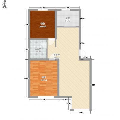 宏都筑景2室1厅1卫1厨90.00㎡户型图