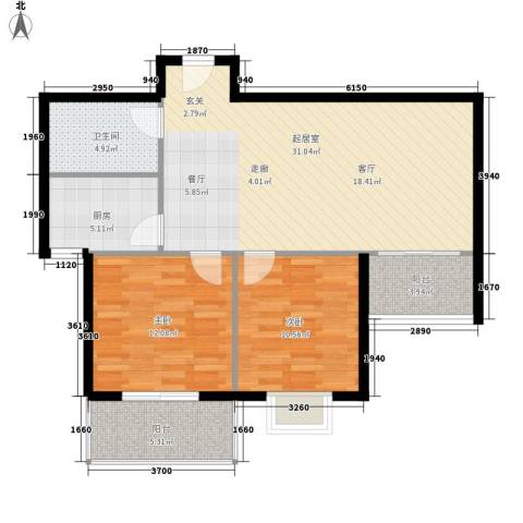 天馨雅园2室0厅1卫1厨81.00㎡户型图