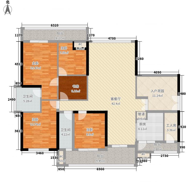 锦绣御园户型图二期5栋A户型 6室2厅2卫1厨