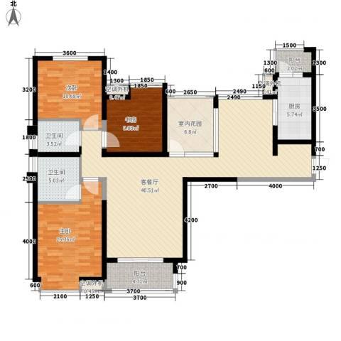 中海东郡3室1厅2卫1厨152.00㎡户型图