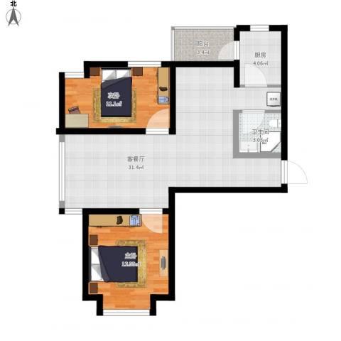 中海国际公寓2室1厅1卫1厨95.00㎡户型图