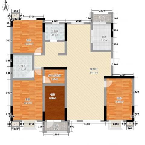 绿地新里中央公馆4室1厅2卫1厨167.00㎡户型图