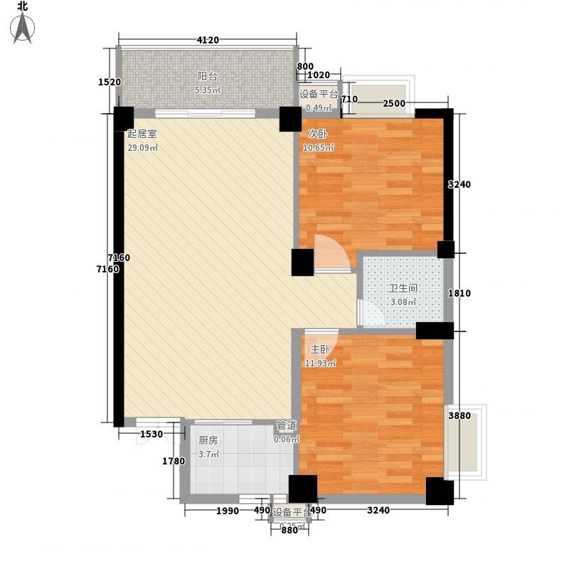 江滨花园城冠园14#楼301-330户型2室2厅1卫1厨