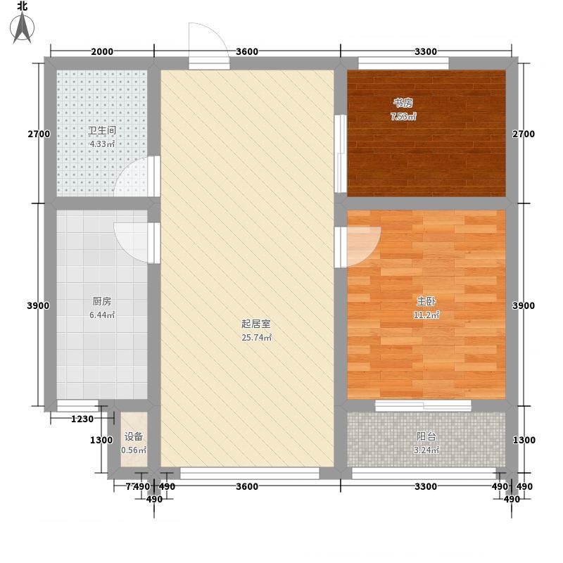 创业・齐悦国际花园二期V26#楼标准层B户型2室2厅1卫1厨
