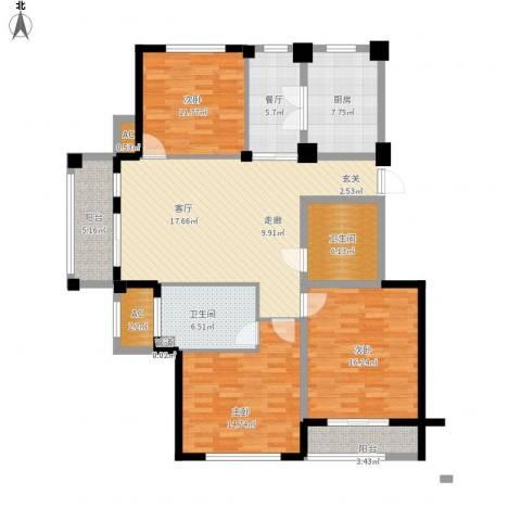 南岸花园东区3室1厅2卫1厨118.00㎡户型图