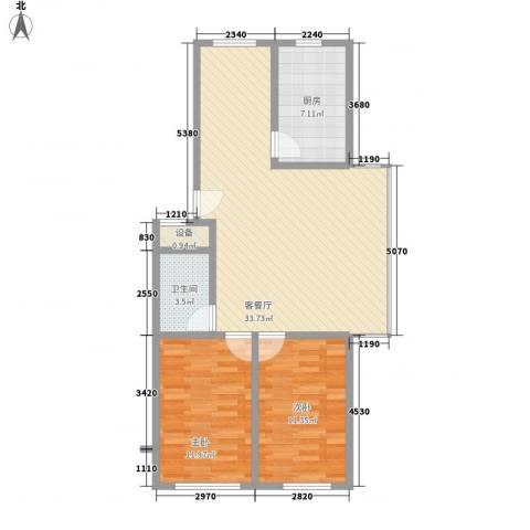 鸿搏雅园2室1厅1卫1厨95.00㎡户型图