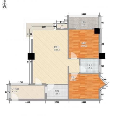 鑫荣花园2室1厅1卫1厨105.00㎡户型图
