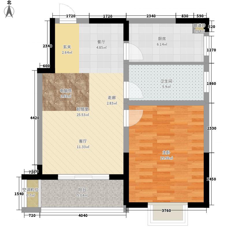凤翔馨城68.00㎡3#4#楼S1户型1室2厅1卫
