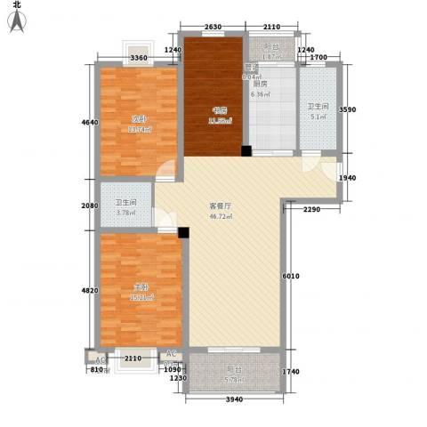 盛世华城2室1厅2卫1厨142.00㎡户型图