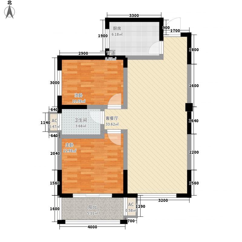中房・祥和名邸1.80㎡2号楼B户型2室2厅1卫1厨