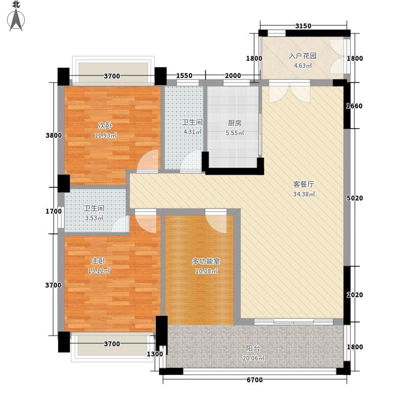 汇景湾111.81㎡26栋标准层01单位户型2室2厅2卫1厨