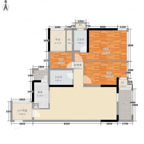 盛天公馆|88街区3室0厅2卫1厨111.07㎡户型图