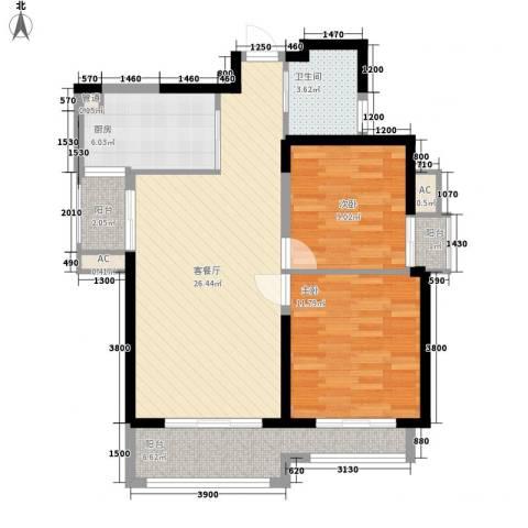 高山流水和城2室1厅1卫1厨98.00㎡户型图