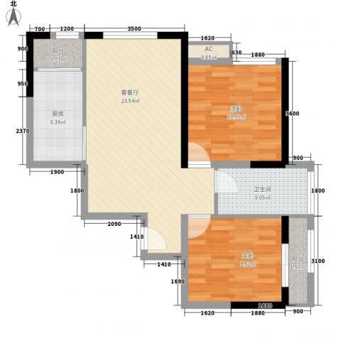 高山流水和城2室1厅1卫1厨85.00㎡户型图
