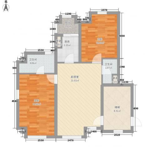 满庭芳花园2室0厅2卫1厨96.00㎡户型图