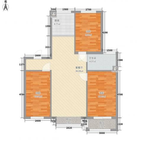 丽景盛园3室1厅1卫1厨115.00㎡户型图
