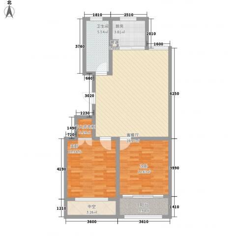 和谐家园2室1厅1卫1厨104.00㎡户型图