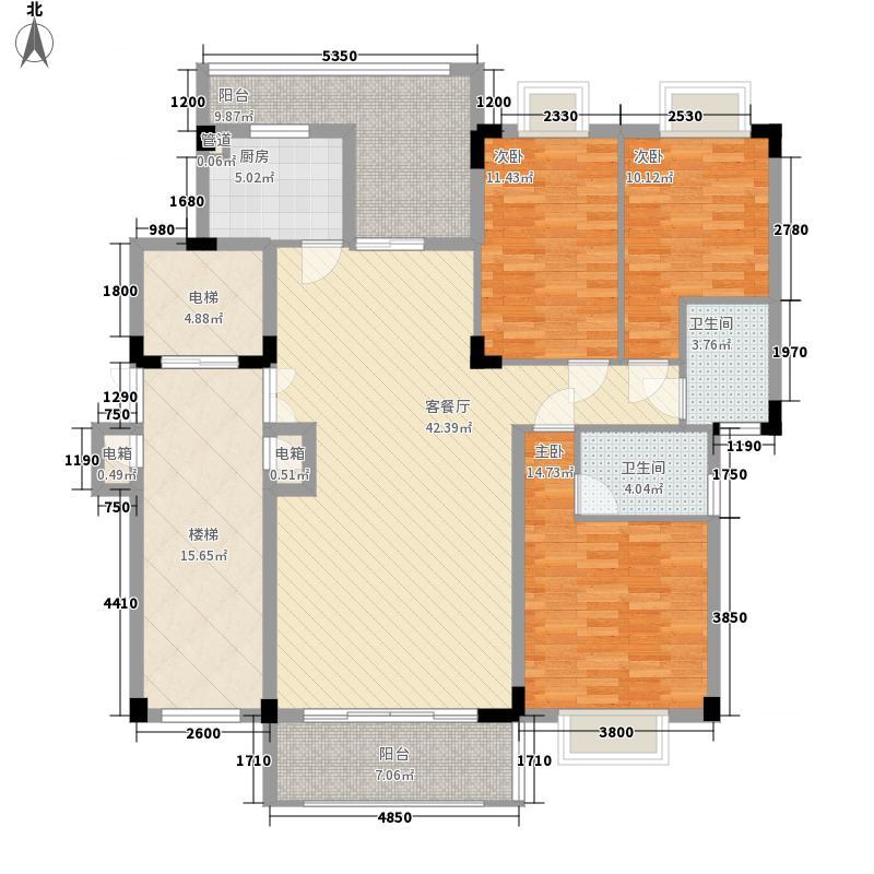 马来西亚城131.00㎡5#楼A座单号2-10层户型3室2厅2卫1厨