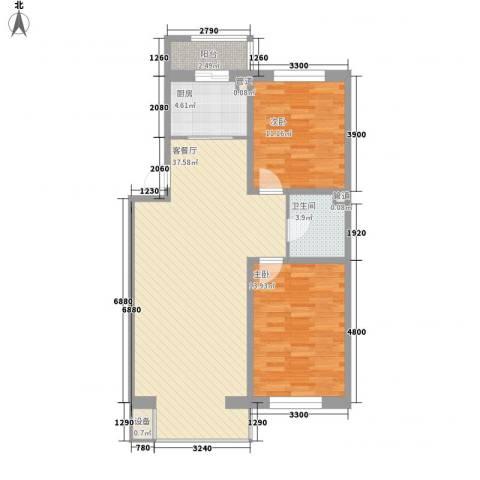 昊景家园2室1厅1卫1厨98.00㎡户型图